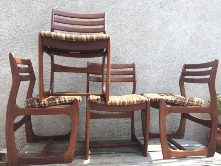 4 X Retro Teak Dining Chairs 1960s / 1970s Portwood (Danish Style)