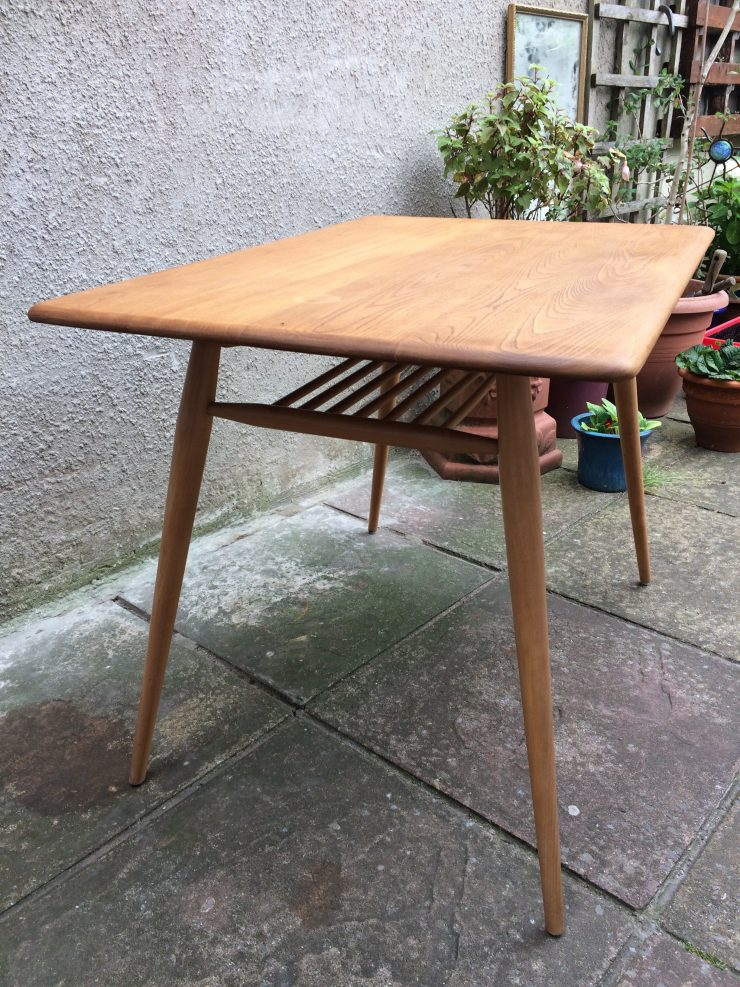rare vintage ercol 366 mid century breakfast table with under rack
