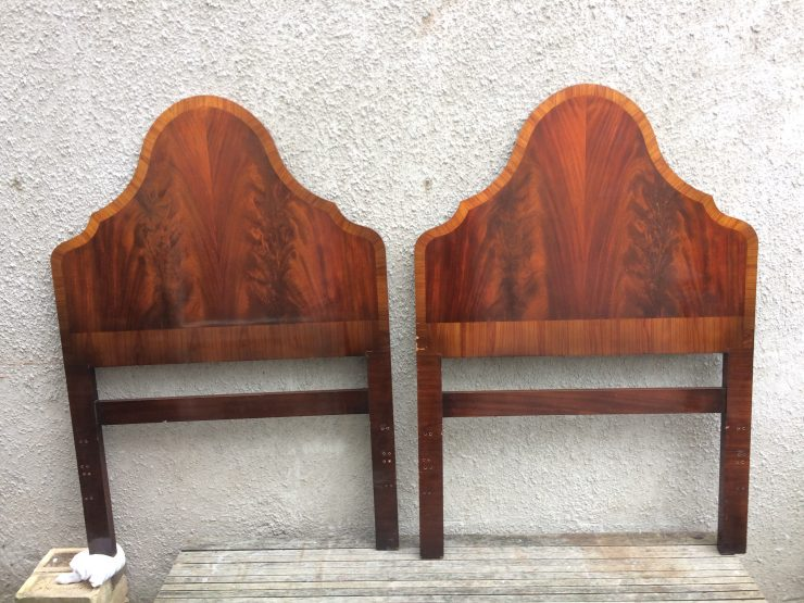 Vintage Art Deco Twin Single Bed Headboards By GT Rackstraw