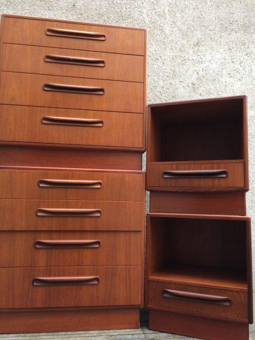 Pair Mid Century G-Plan Fresco Teak Bedside Cabinets Matching Set Drawers