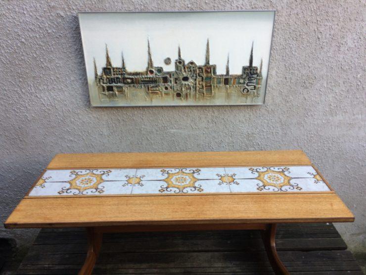 Retro G Plan Teak Tile Top Coffee Table Long-John Table