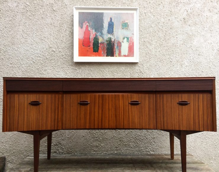 Mid Century Zebrano & Rosewood Dressing Table Desk Sideboard