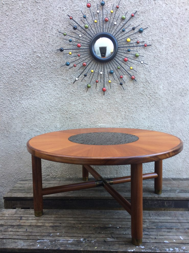 E Gomme G-Plan Circular Coffee Table with Smoked Glass Centre
