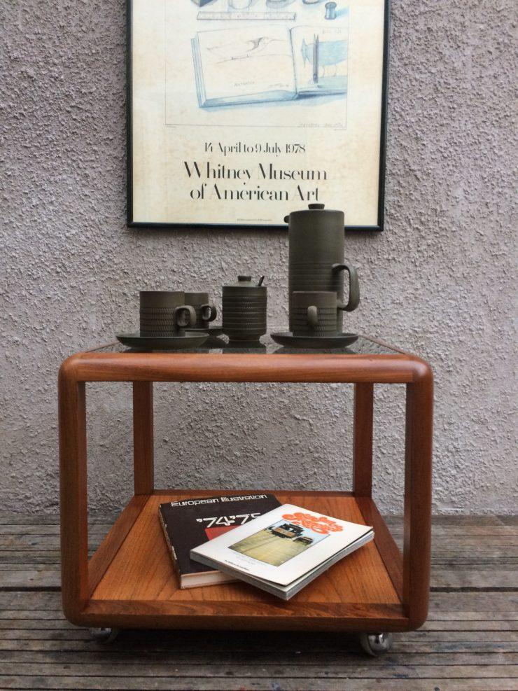 Retro Teak G Plan Cube Glass Coffee Table On Castors