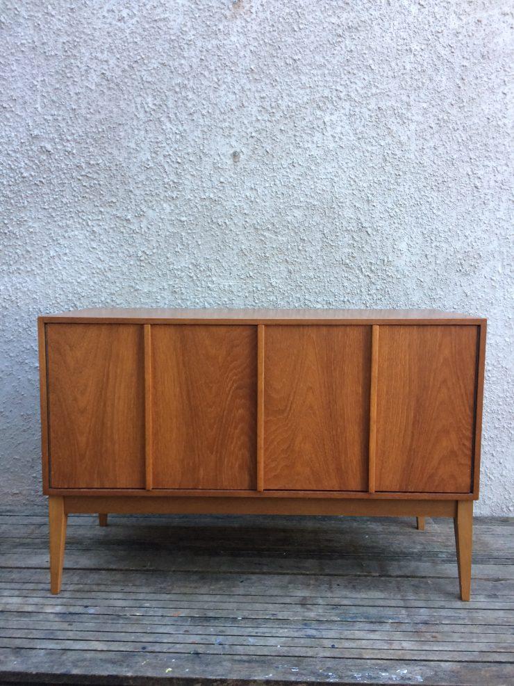 Vintage Mid Century Record Vinyl Cabinet With Bifold Doors