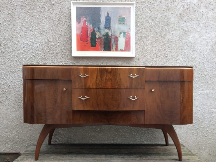 Mid Century Beautility Sideboard on Bentwood Curved Legs Art Deco Style