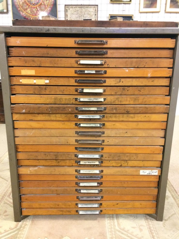 Gentil Original 1960s Printing Tray Cabinet And Printing Blocks