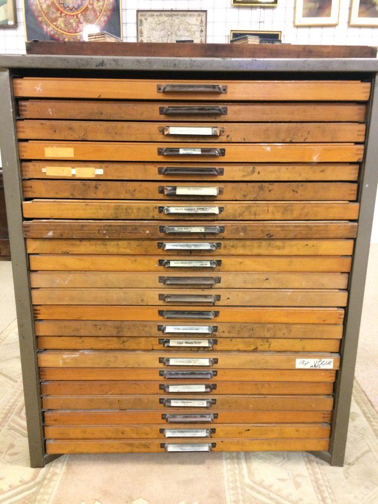 1960s Printing Tray Cabinet and Metal Printing Blocks