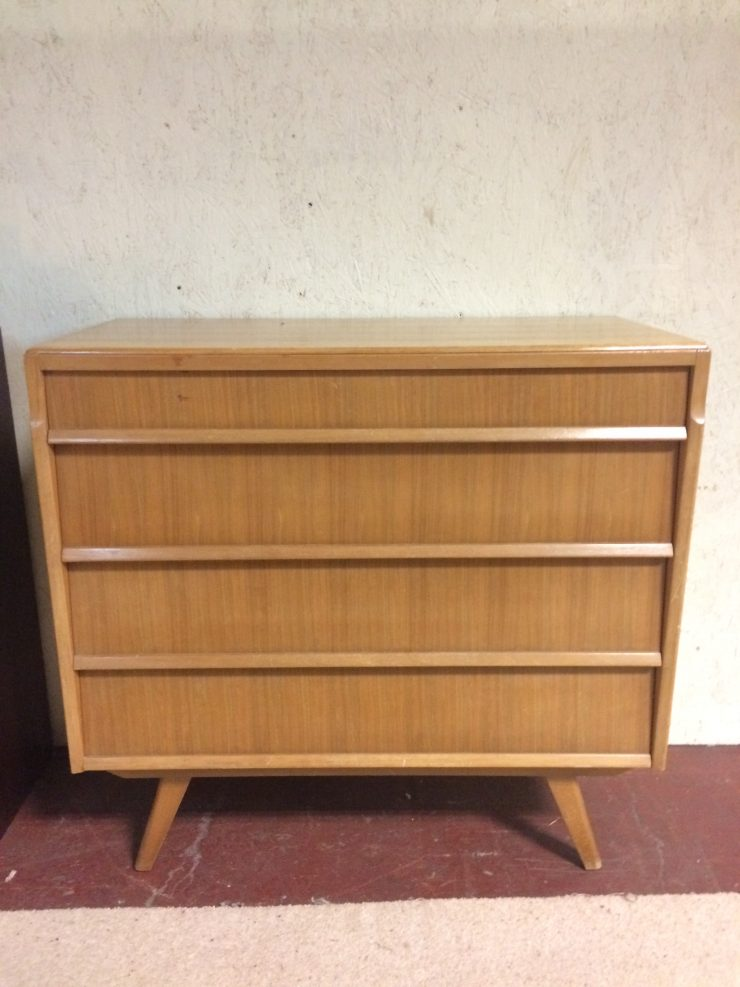 Vintage Mid Century Danish Style Chest Of 4 Drawers - Atomic Legs