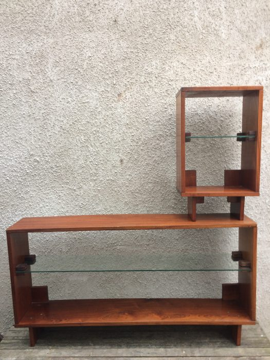 Mid Century solid timber and glass shelving unit or room divider.