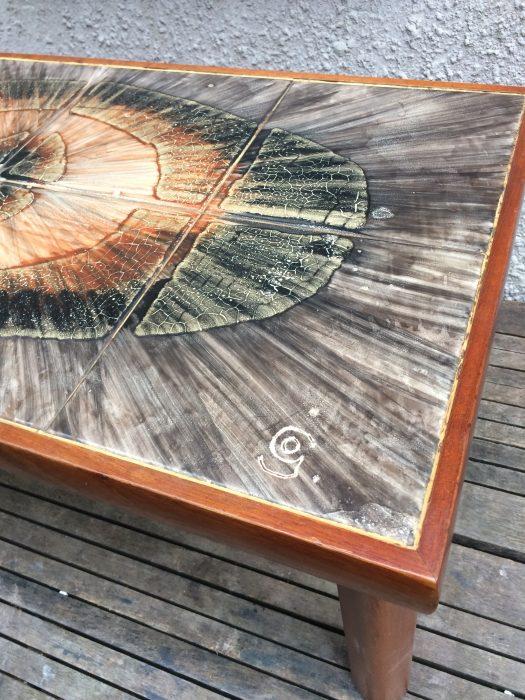 Geode Style 1960s Danish Style Retro Teak Tile Top Coffee Table