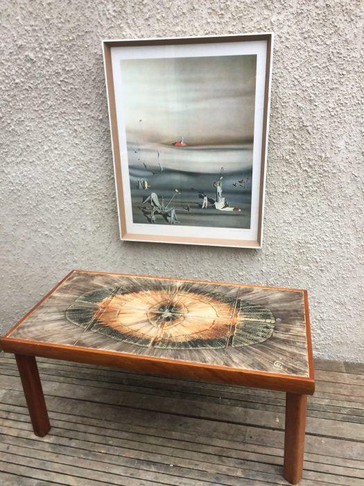 Geode Style 1960s Danish Style Retro Teak Tile Top Coffee