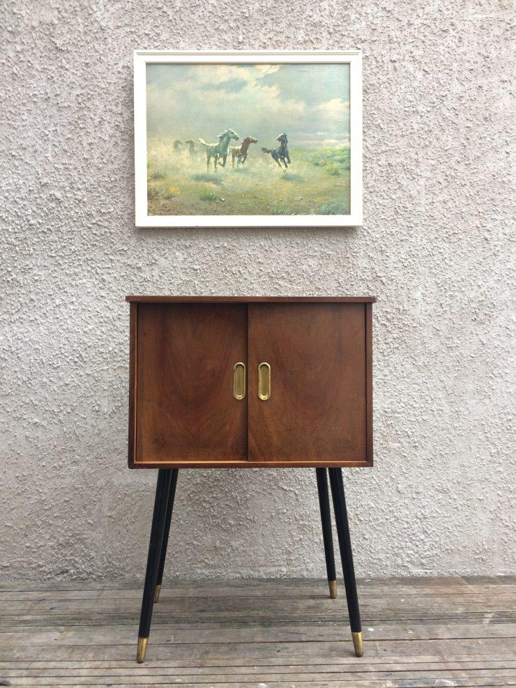 Vintage Mid Century Record LP Storage Cabinet On Dansette Legs