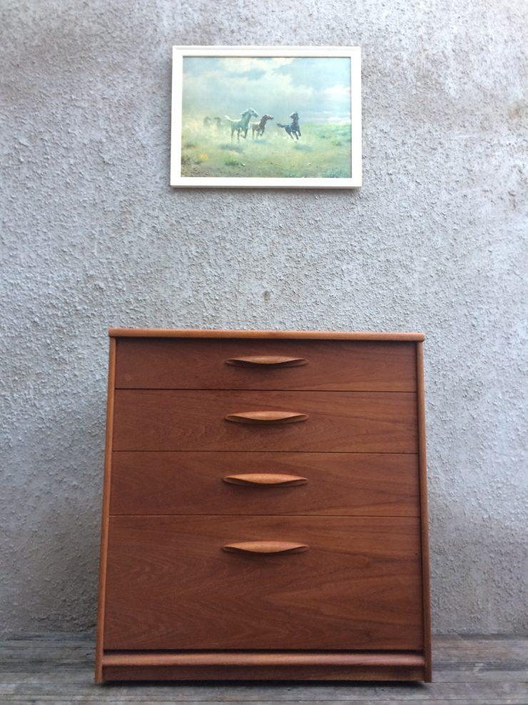 Retro Austin Suite Teak Danish Style Chest of Drawers on Castors