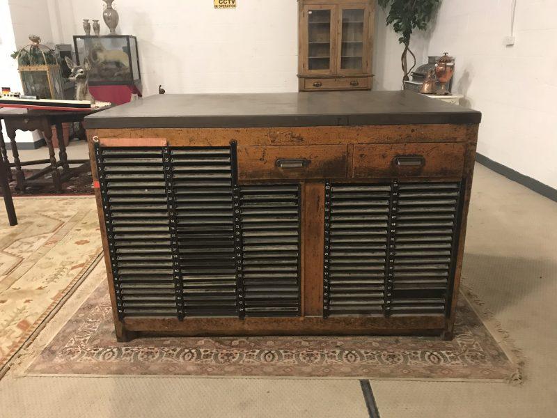 Mid Century Vintage Quality Stephanson Blake Type Compositors Bench / Cabinet