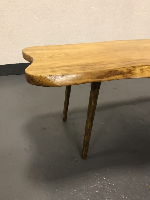 Stunning Mid Century Handcrafted Solid Elm Coffee Table On Dansette Style Legs