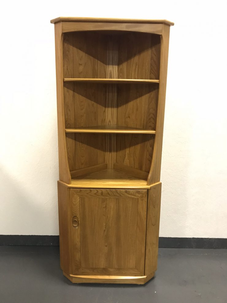 Retro 1980s Golden Dawn Ercol Corner Cabinet / Unit / Cupboard in Classic Ercol Elm & Beech
