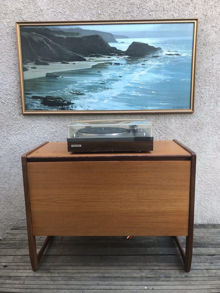 Retro Teak Record Cabinet Vinyl Storage Cupboard G Plan Style Quadrille Legs