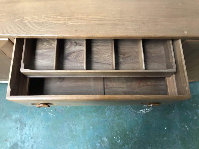 Vintage Ercol 455 Long Sideboard Mid Century Blonde Elm