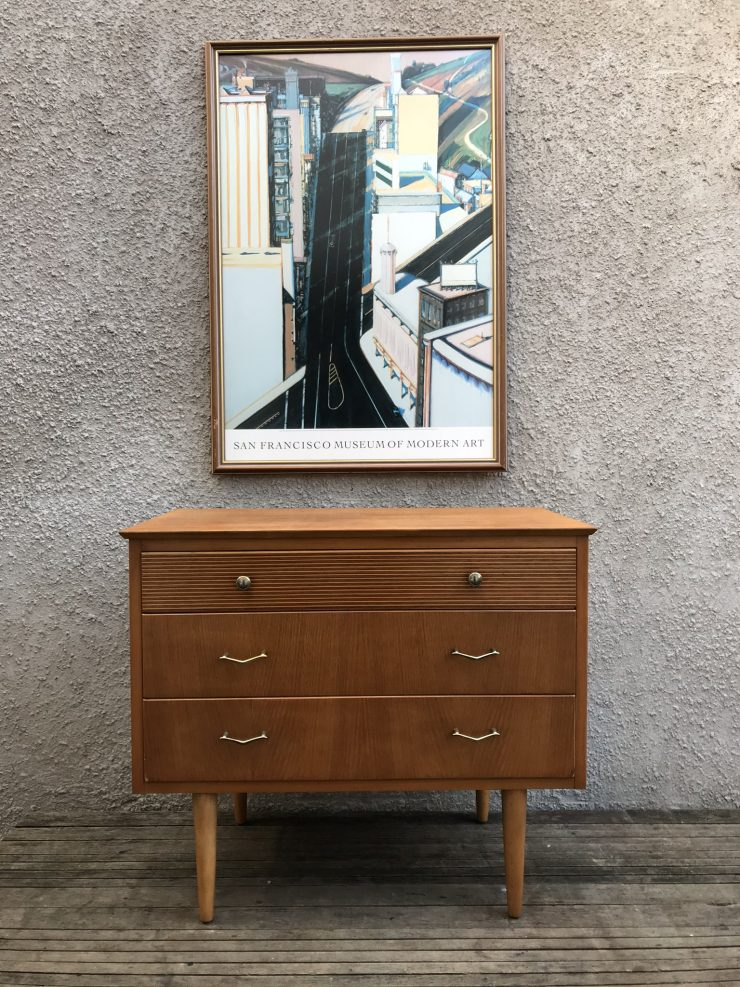 Vintage 1960s Danish Style Oak 3 Drawer Chest of Drawers By CWS Ltd