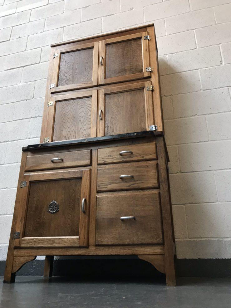 Vintage 1938 Wooden Utility Kitchen Cabinet / Kitchen Maid - Hoosier Style