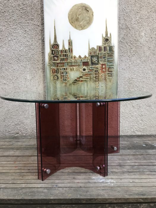 Retro Albrizini Style Circular Glass Topped Coffee Table Burgundy Perspex Base