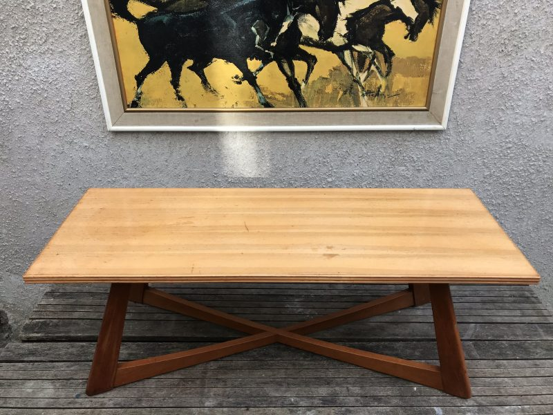 Retro Danish Style Blonde Wood Coffee Table