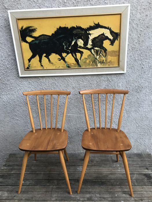2 x Vintage Retro Blonde Ercol All Purpose Chairs 391