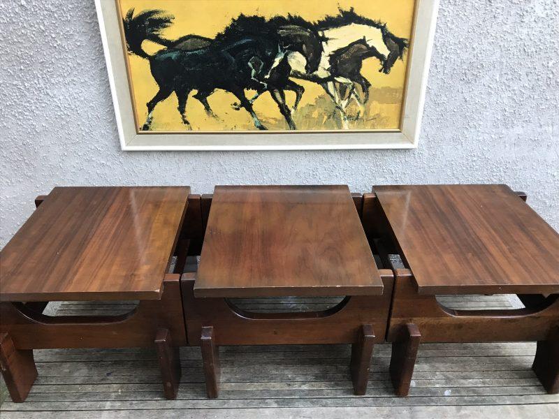 Unusual Vintage Mid Century Set Of 3 Solid Wood 2 Tier End Side Tables