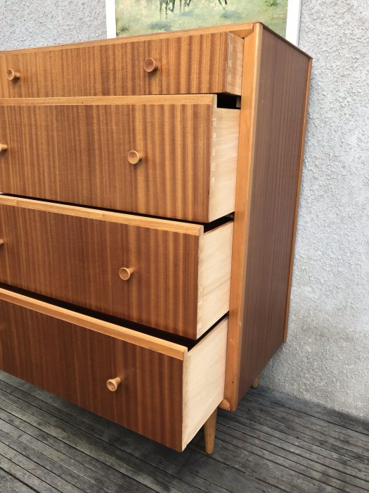 Vintage Retro Mid Century Modernist Oak Tallboy Chest of 4 Drawers