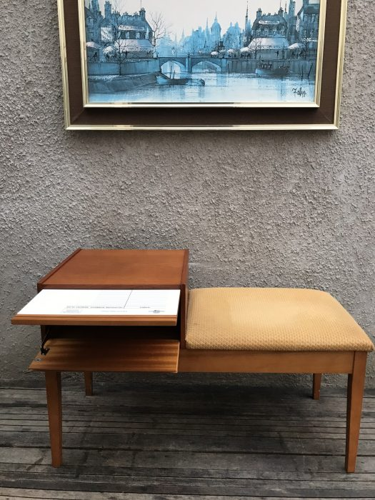 Retro Telephone Hall Table with Seat Drawer & Shelf Teak Wood by Chippy