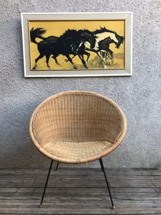 Vintage Mid Century 1950s Cone Chair Wicker Woven Satellite Chair