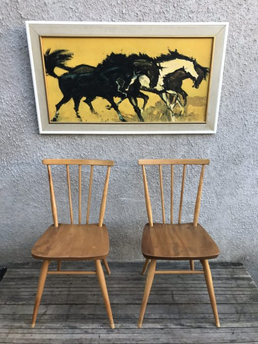 2 x Vintage Early 1960s Blonde Ercol All Purpose Chairs 391