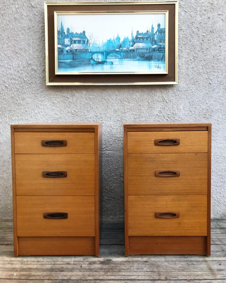 Pair Of Retro Vintage Mid Century Teak G Plan Style Chest of Drawers / Bedside Tables 1960s 70s