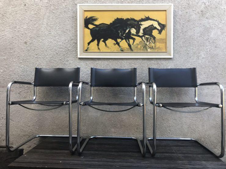 3 Retro Style Italian Black Leather & Chrome Chair Bauhaus Style Cantilever