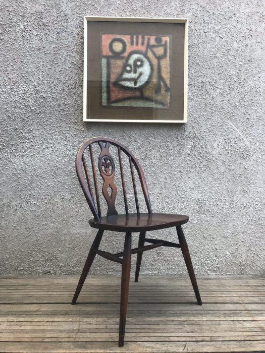 Ercol Windsor 371 Chairs Fleur-de-Lys Mid Century