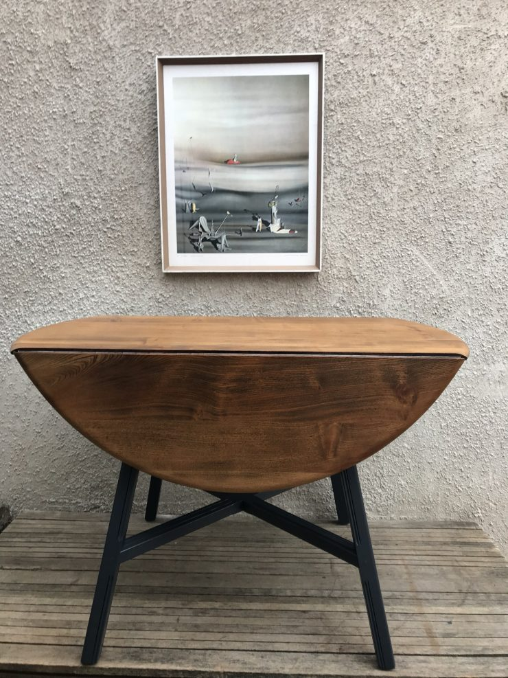 Mid Century 1960s Ercol Elm & Beech Old Colonial 377 Drop Leaf Dining Table