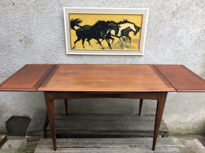 Vintage 1960s Danish Teak Drawleaf Extending Dining Kitchen Table