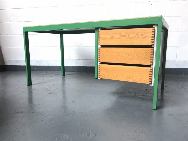 Industrial Retro 3 Drawer Metal & Wood Desk