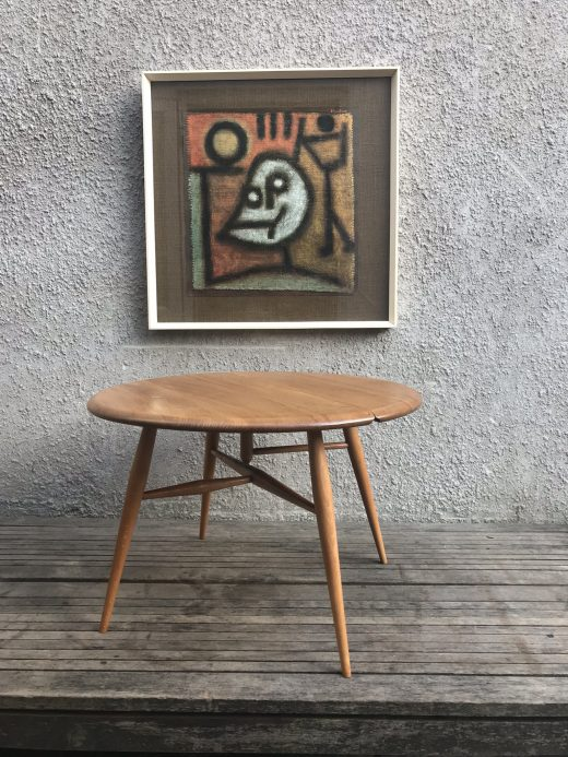 Vintage 1960s ERCOL Drop-leaf Coffee Occasional Side Table 'Half-Moon'