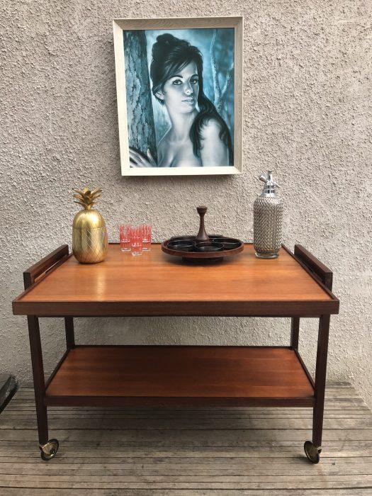Vintage Retro Teak Metamorphic Tea Drinks Cocktail Hostess Table