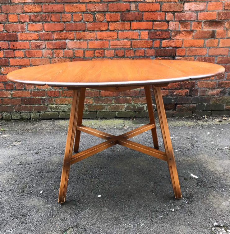 Vintage 1960s Windsor Blonde Ercol Elm & Beech Drop Leaf Dining Table