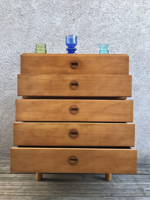 Mid Century Vintage Chest Of 5 Drawers by UNIFLEX