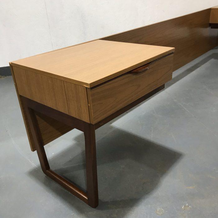 Vintage Retro Teak Headboard and Bedside Tables Set By EUROPA