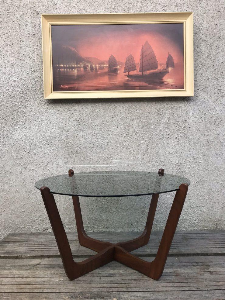 Mid Century Vintage Glass And Teak Circular Round Coffee Table G Plan Era