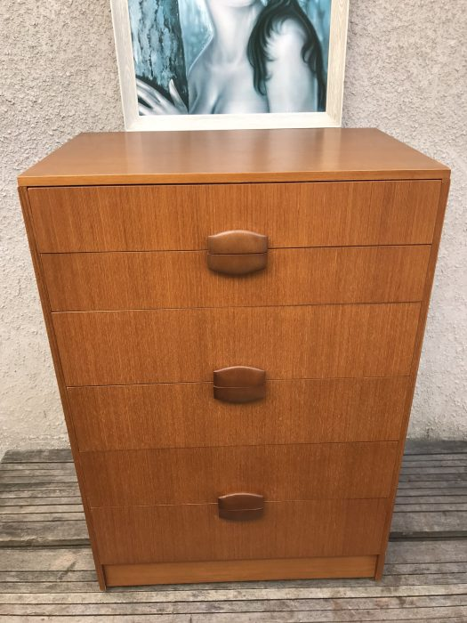 1970s Retro Tallboy Chest of 6 Drawers