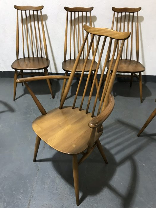 Set of Six Vintage ERCOL Goldsmith Dining Chairs Including 2 Carvers / Armchairs