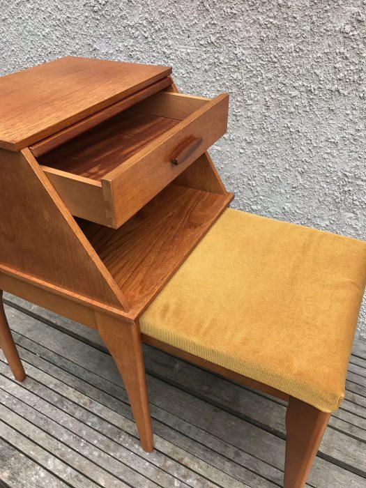 Retro CHIPPY Telephone Table Vintage Teak Hall Seat Bench