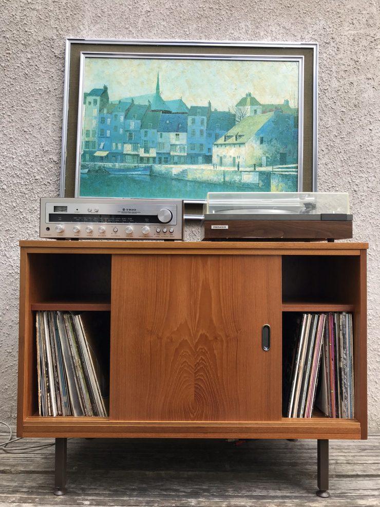 Vintage Retro Cupboard Vinyl Record Storage Sideboard Cabinet
