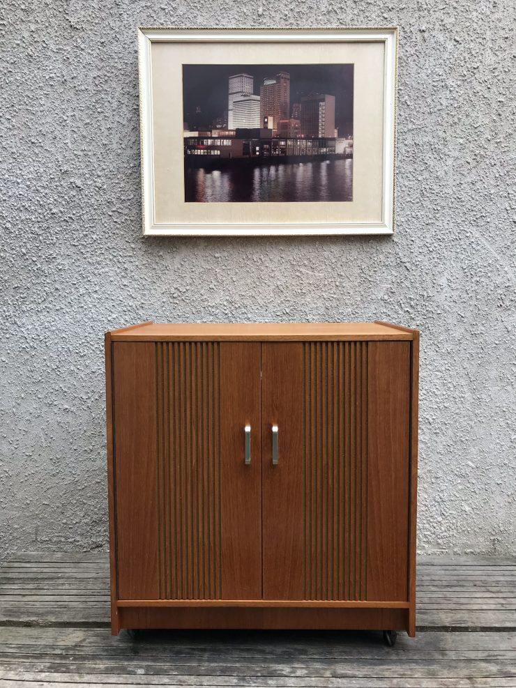 Retro Vinyl Record Storage Cupboard Cabinet On Original Castors